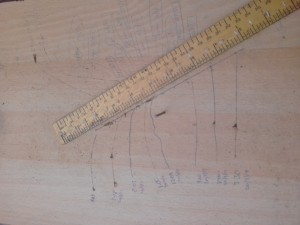 Nail Board with straight line through 8 markings across the day